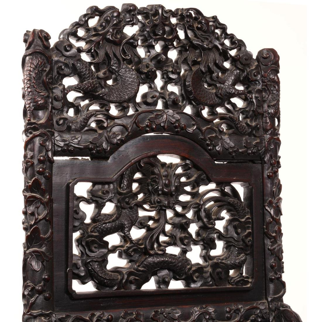 Antique Carved Teakwood Chair - 2