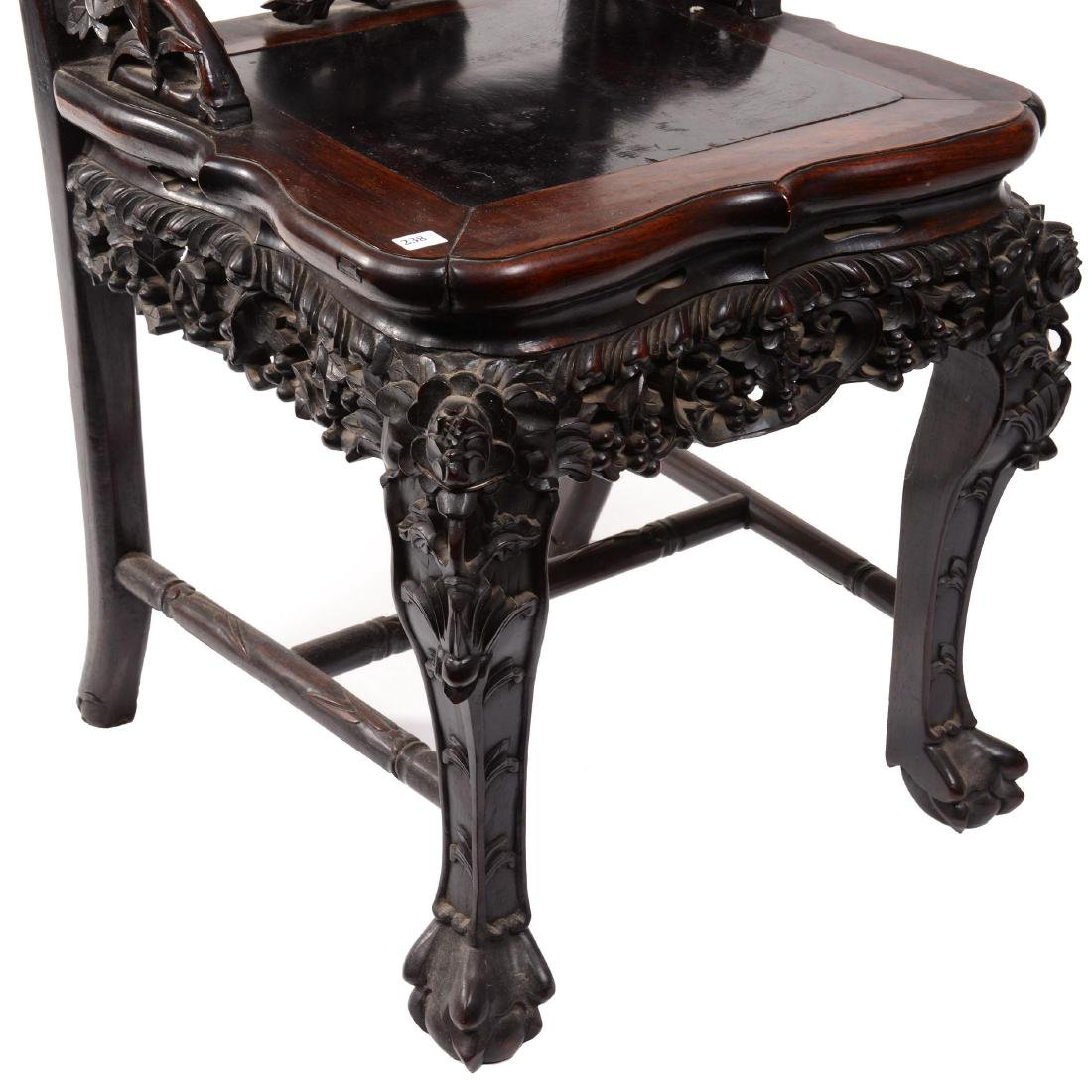 Antique Carved Teakwood Chair - 3