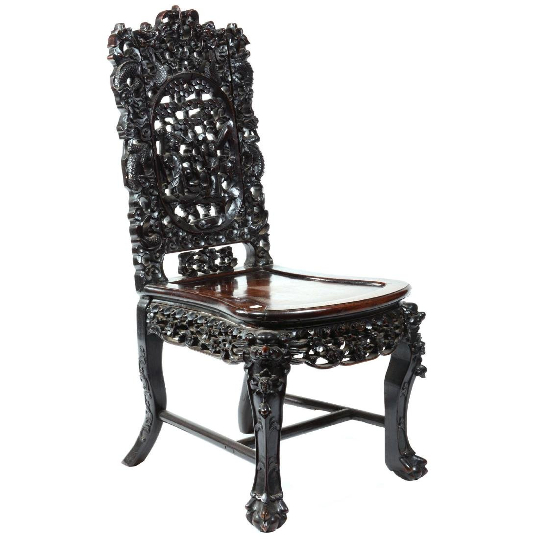 Antique Carved Teakwood Chair