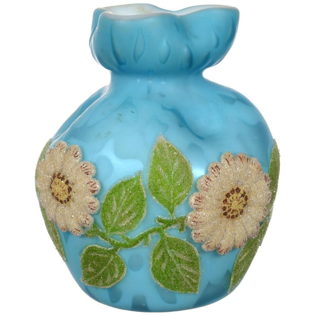 Blue Satin Mother of Pearl Art Glass Vase
