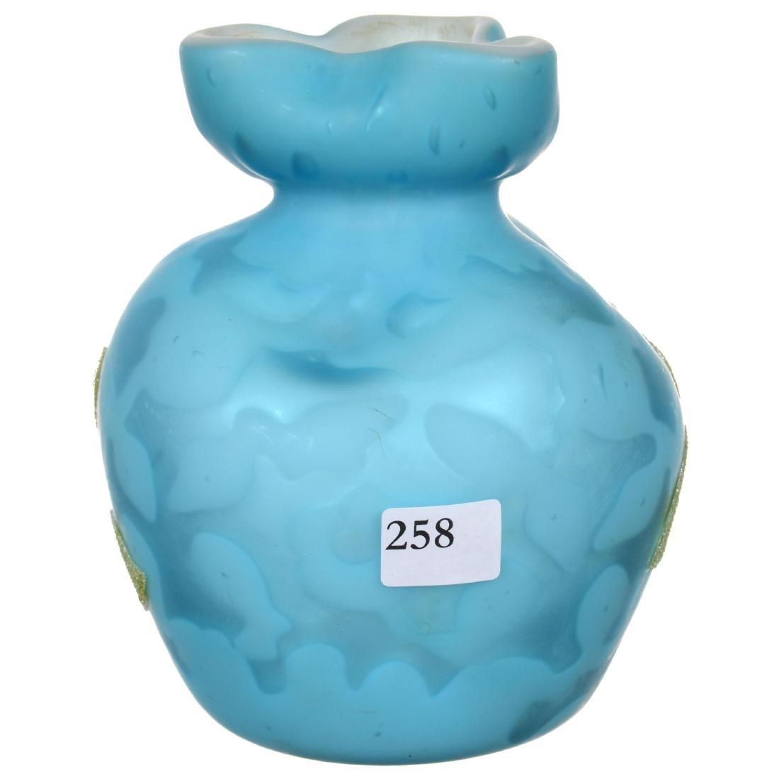 Blue Satin Mother of Pearl Art Glass Vase - 2