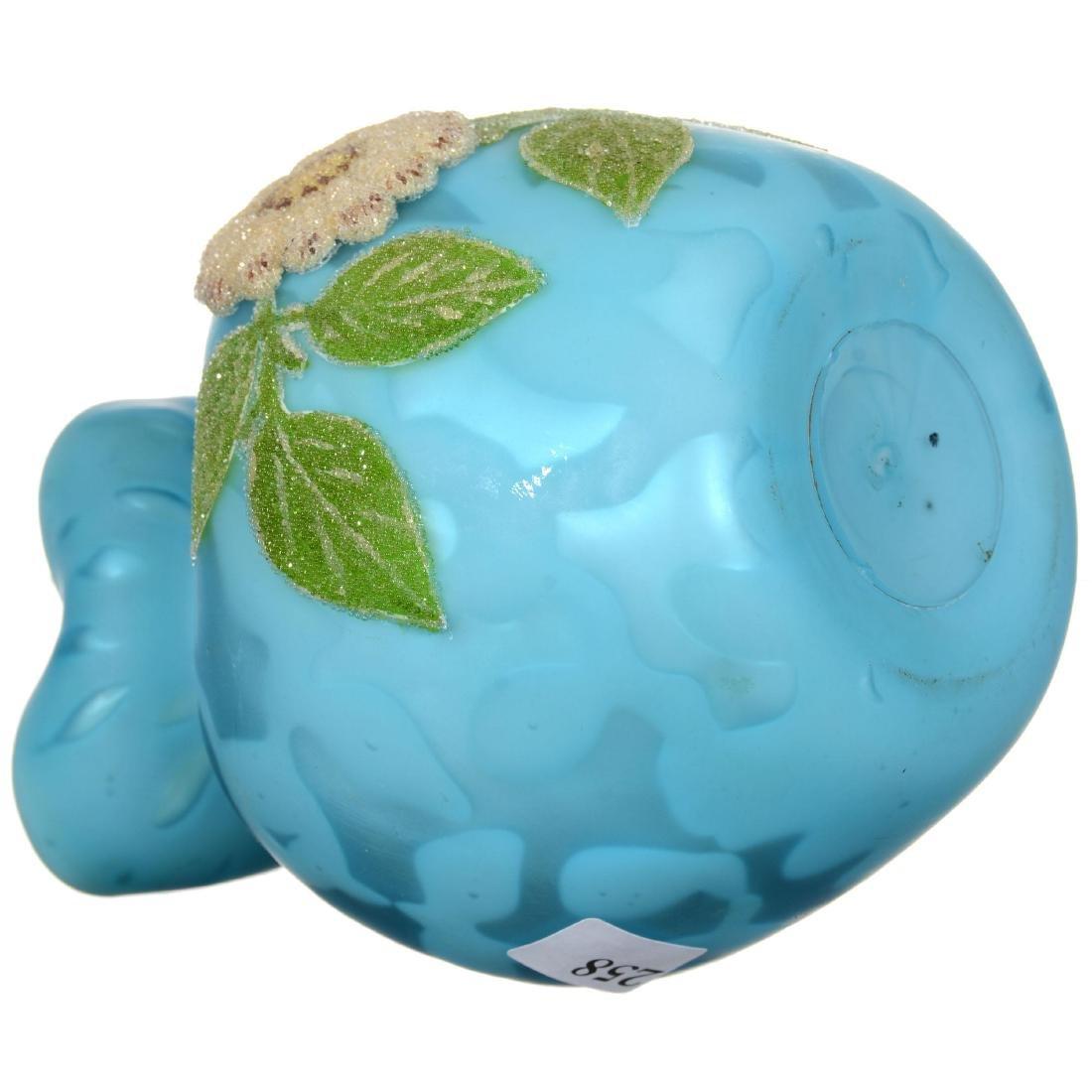 Blue Satin Mother of Pearl Art Glass Vase - 3