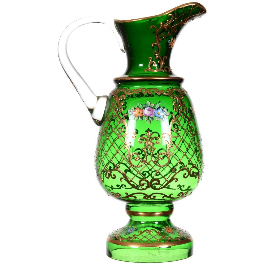 Bohemian Art Glass Pedestal Display Ewer