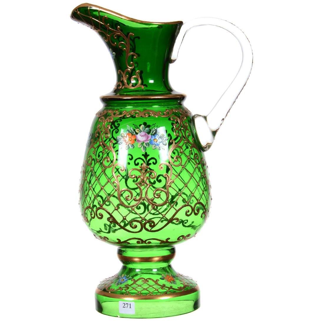 Bohemian Art Glass Pedestal Display Ewer - 2