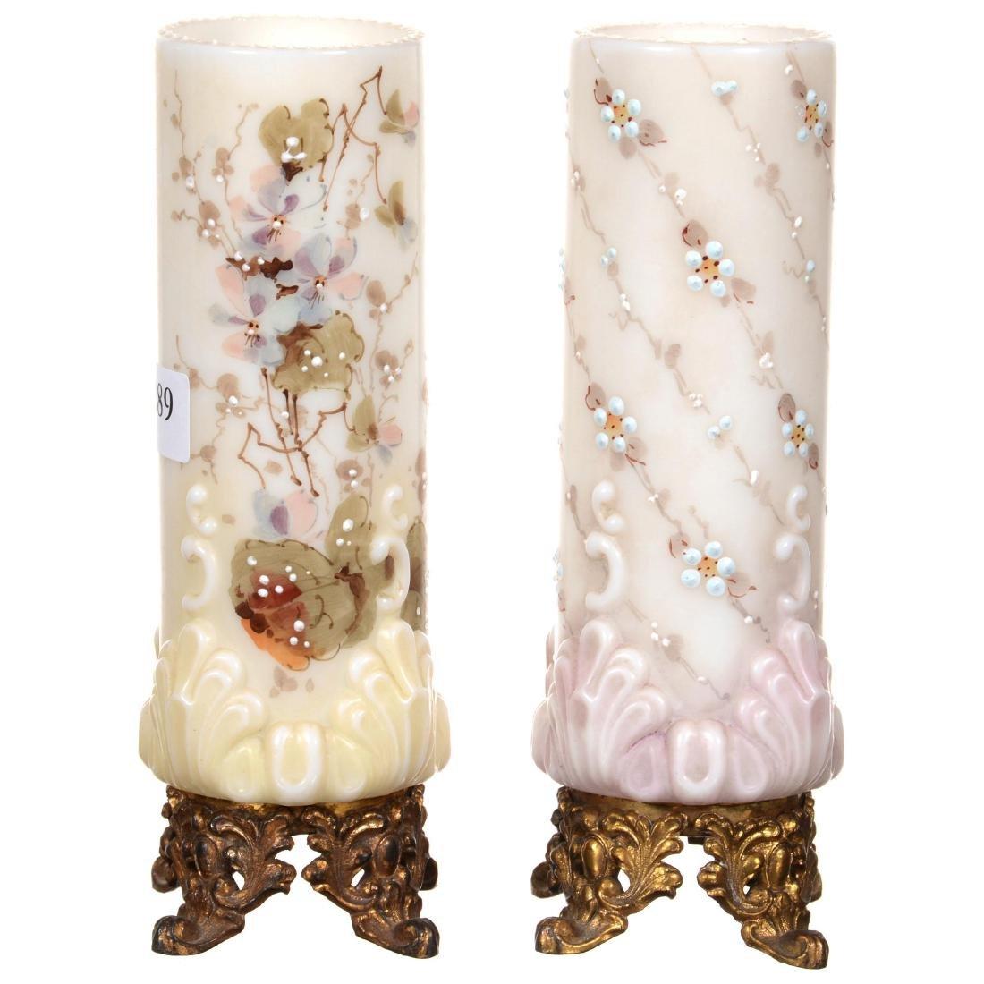 (2) Unmarked Wavecrest Cylinder Vases