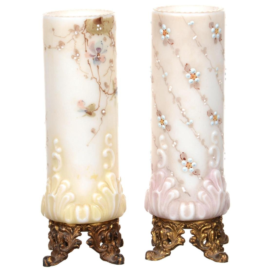 (2) Unmarked Wavecrest Cylinder Vases - 2