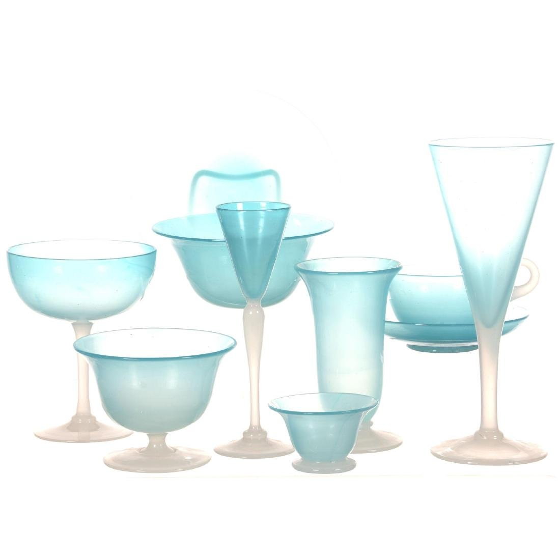 Fifty-Four Piece Set of Extremely Rare Light Blue Jade
