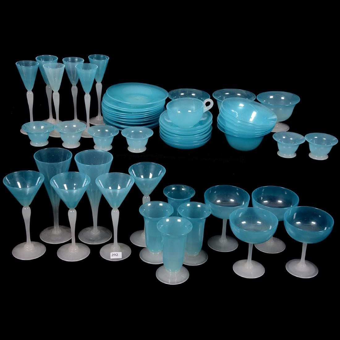 Fifty-Four Piece Set of Extremely Rare Light Blue Jade - 2