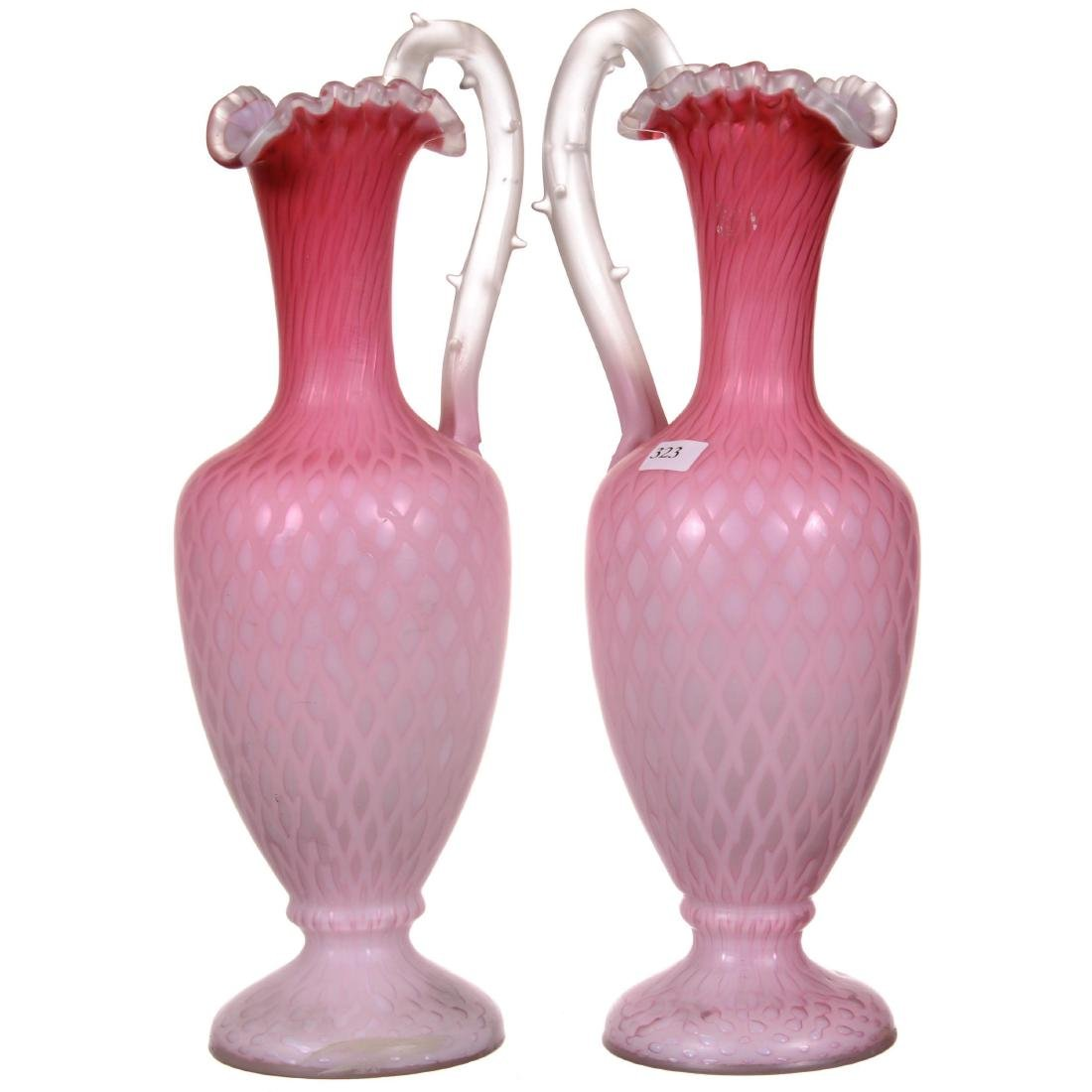 Pair Pink Satin Diamond Quilted Mother of Pearl Pedesta - 2