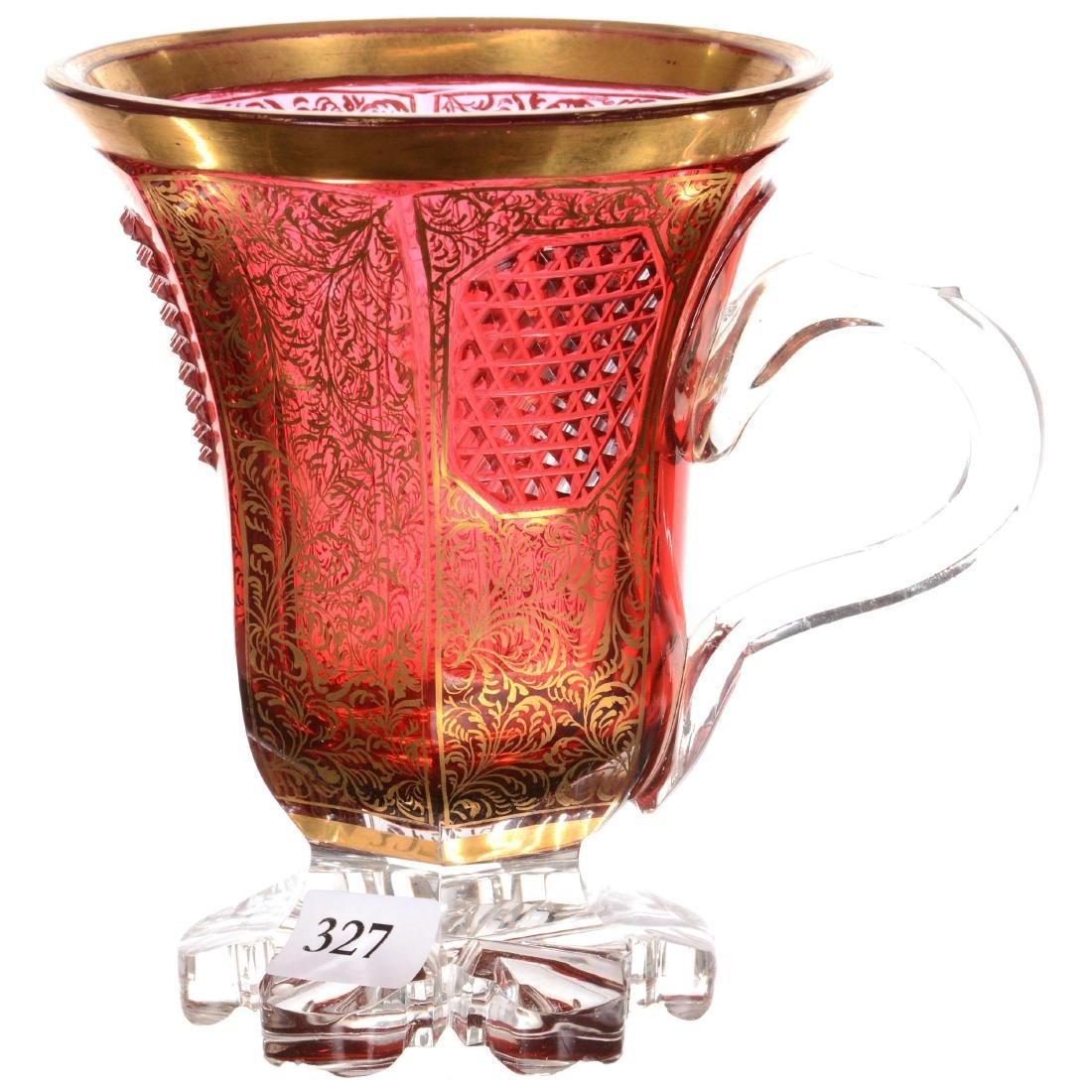 Bohemian Cased Art Glass Pedestal Cup