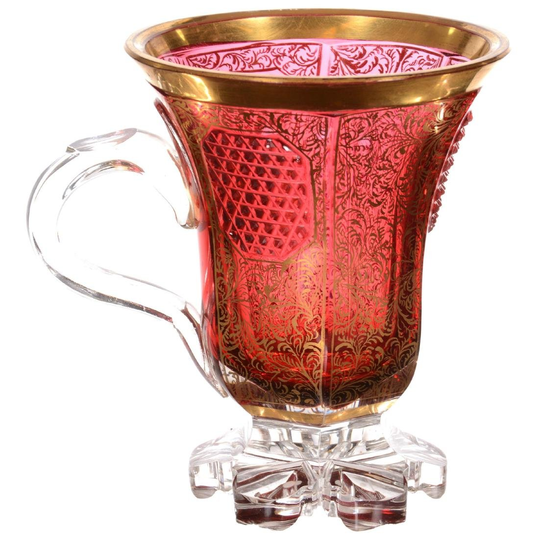 Bohemian Cased Art Glass Pedestal Cup - 2