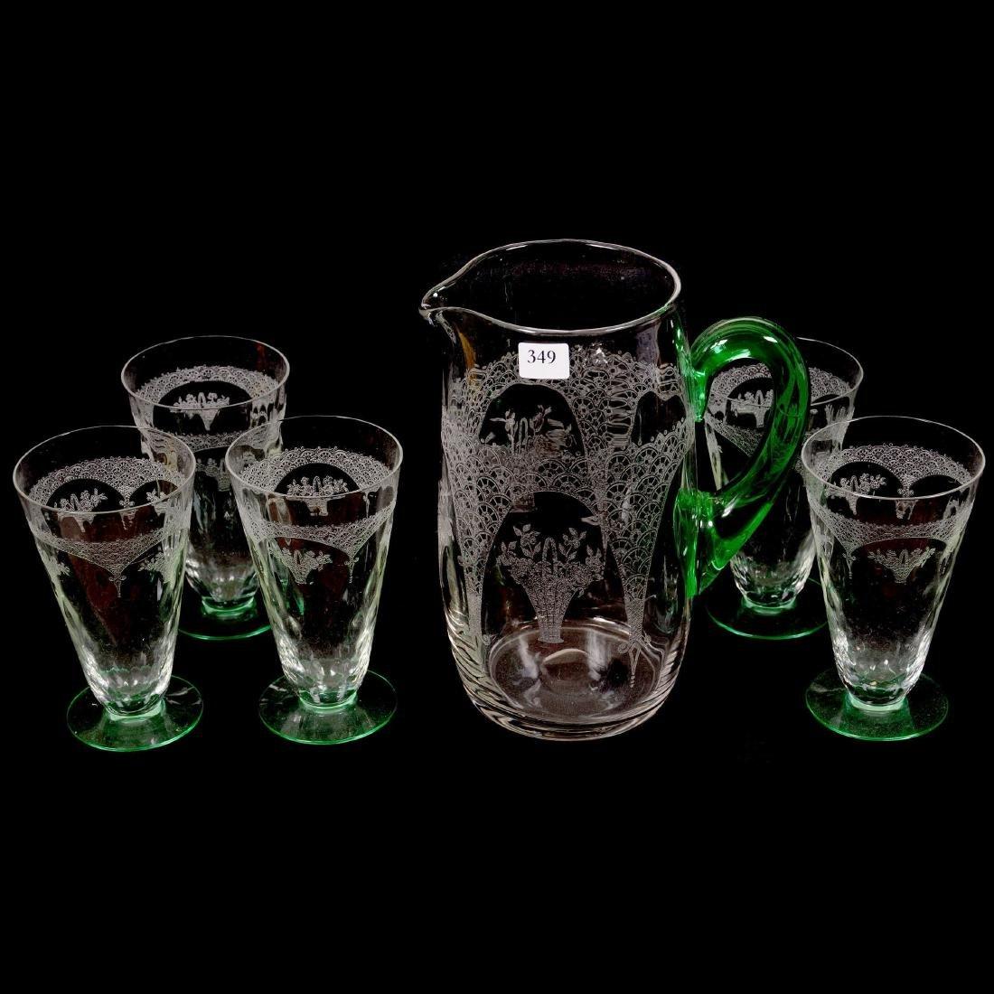 Six Piece Pitcher and Glass Set