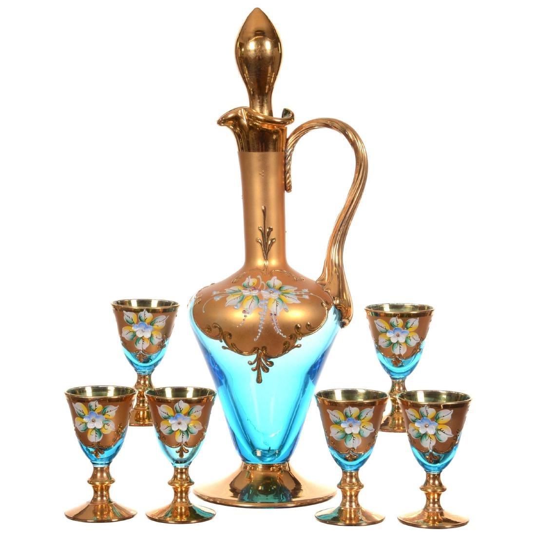 Seven Piece Bohemian Art Glass Liqueur Set