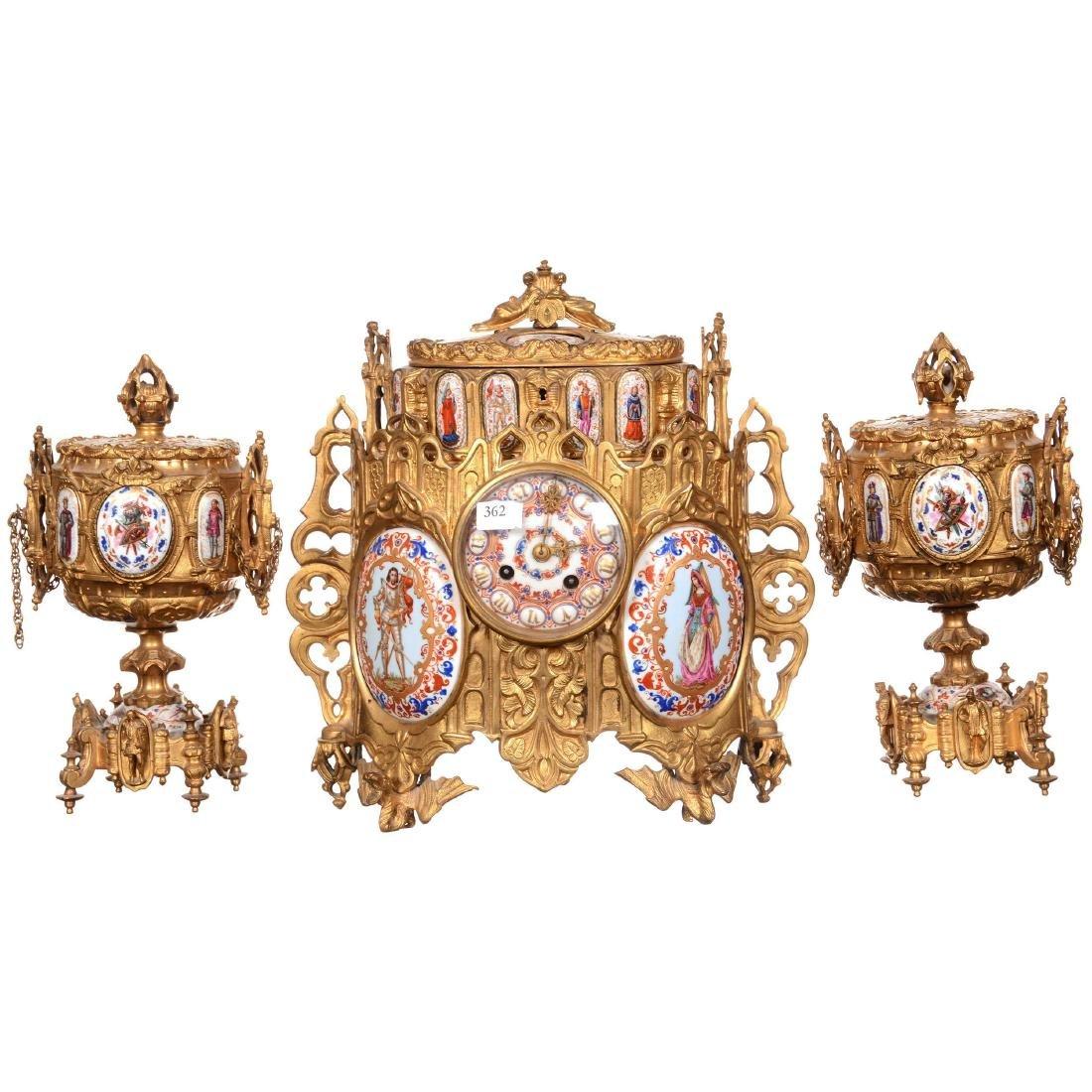 Early French Sevres Three Piece Ormolu Clock Set