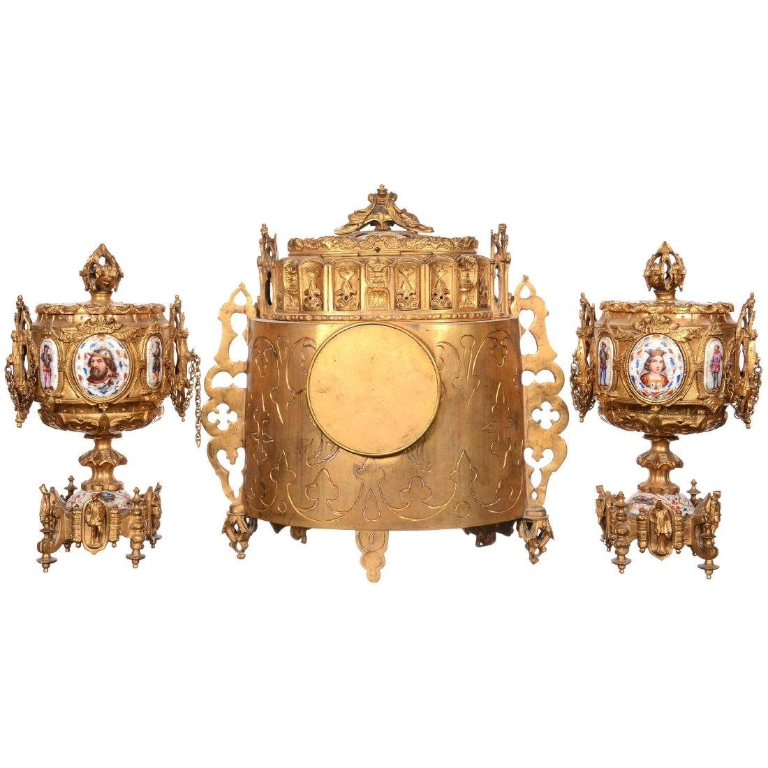 Early French Sevres Three Piece Ormolu Clock Set - 2