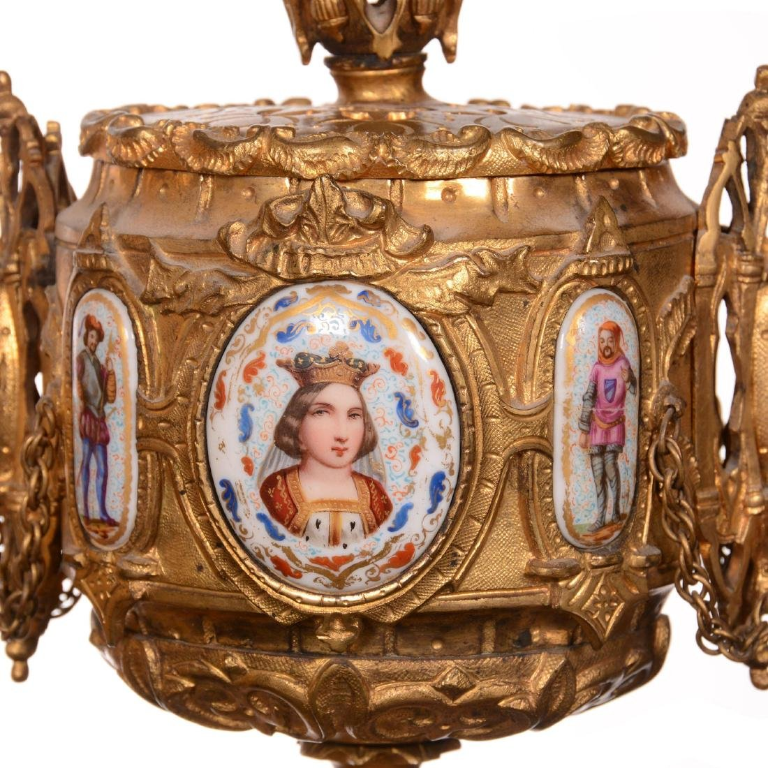 Early French Sevres Three Piece Ormolu Clock Set - 8