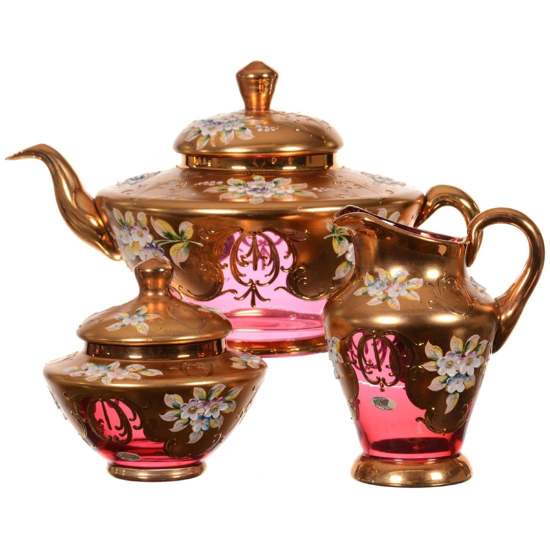 Eight Piece Bohemian Art Glass Tea Set