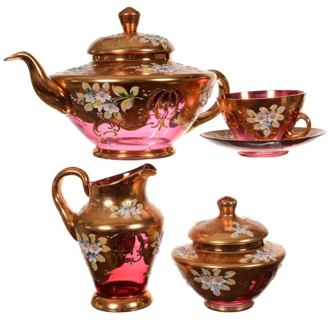 Eight Piece Bohemian Art Glass Tea Set - 3