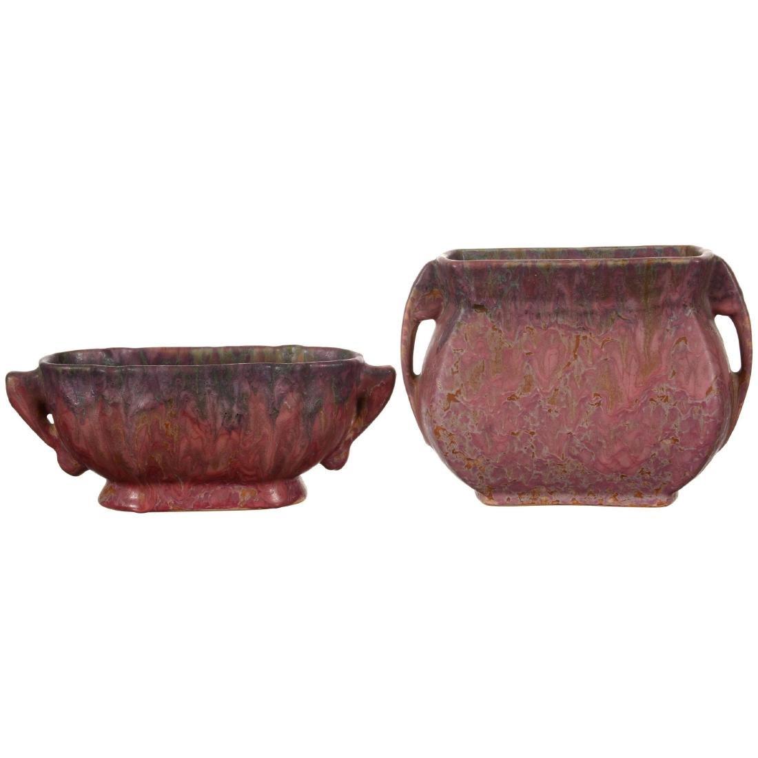 (2) Unmarked Roseville Art Pottery Vases