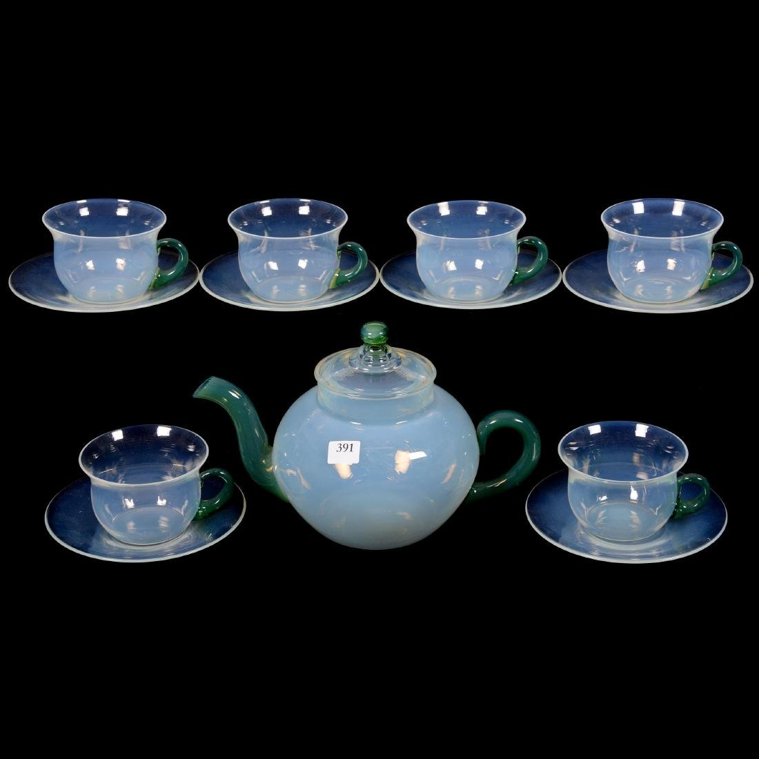 Seven Piece Fry Fovel Art Glass Tea Set