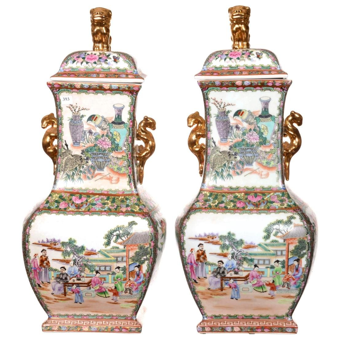 Pair of Oriental Porcelain Covered Urns