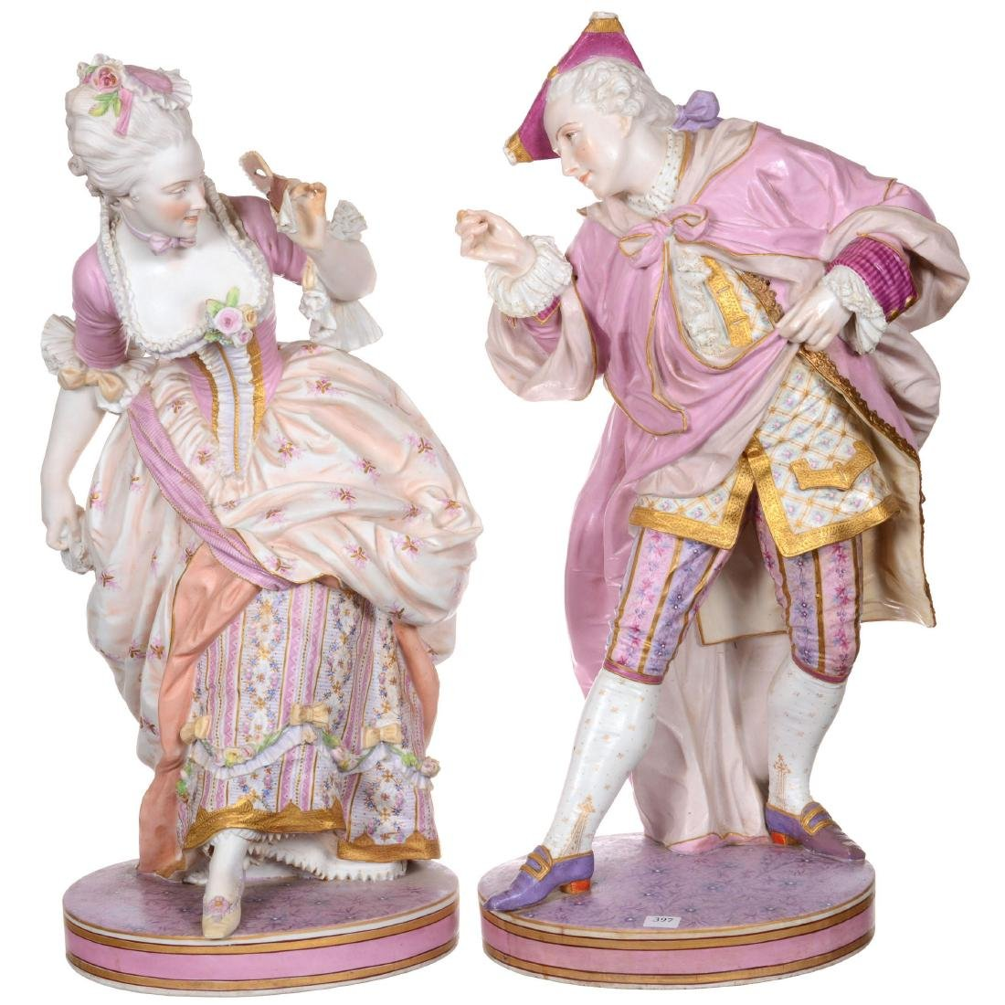 Pair of Large French Bisque Figures