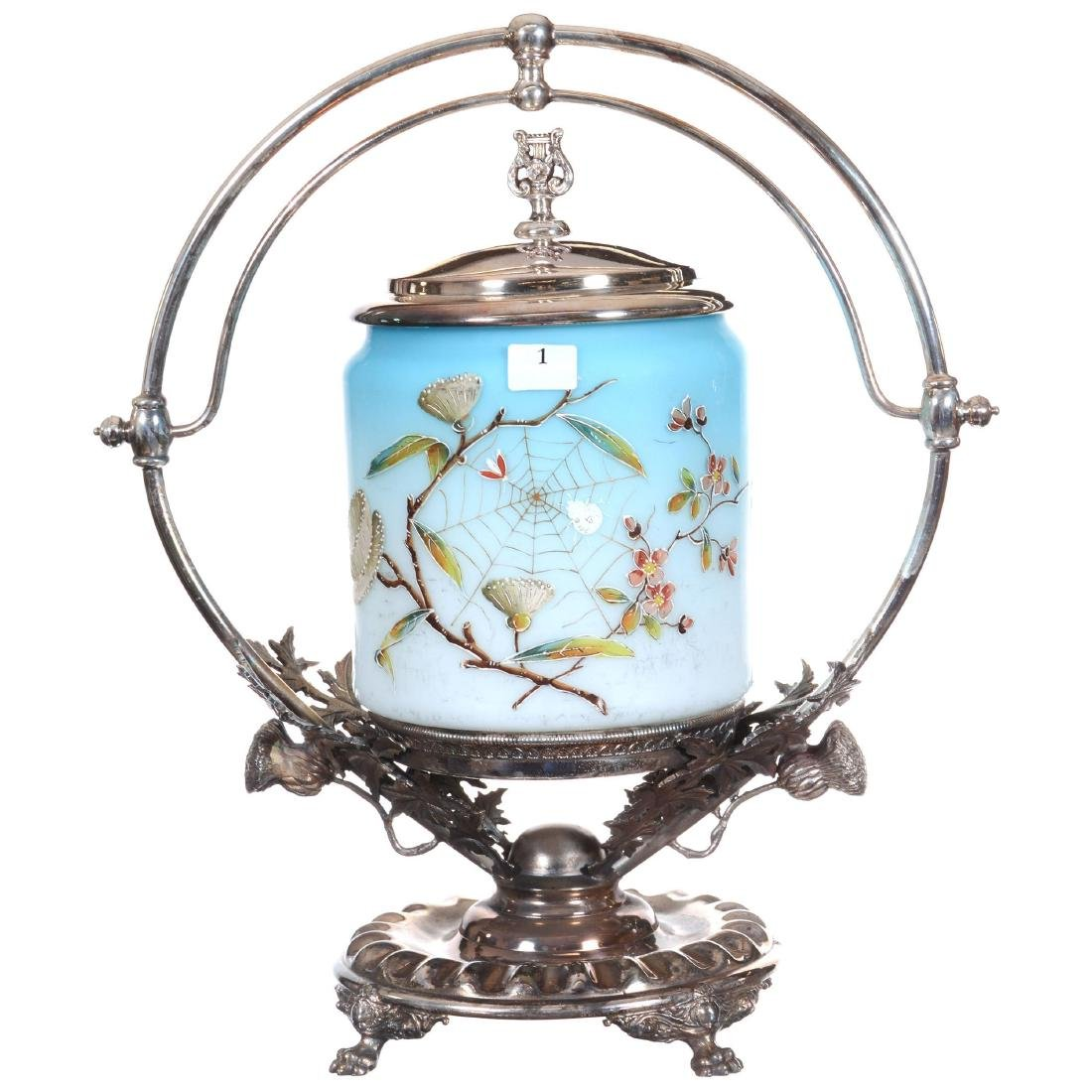 Victorian Biscuit Jar On Silver-plate Stand