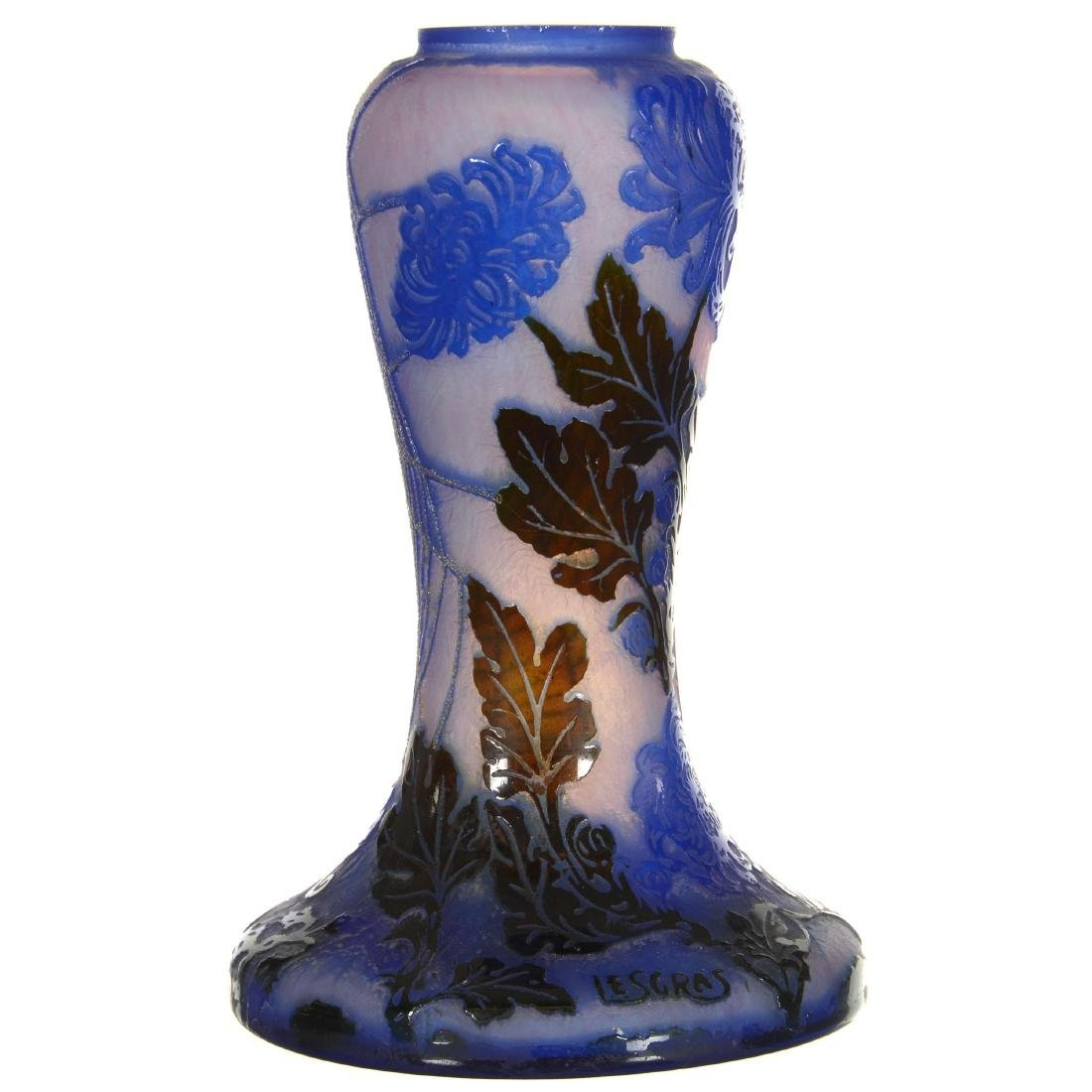 Marked Le Gras Cameo Cut Art Glass Vase - 2
