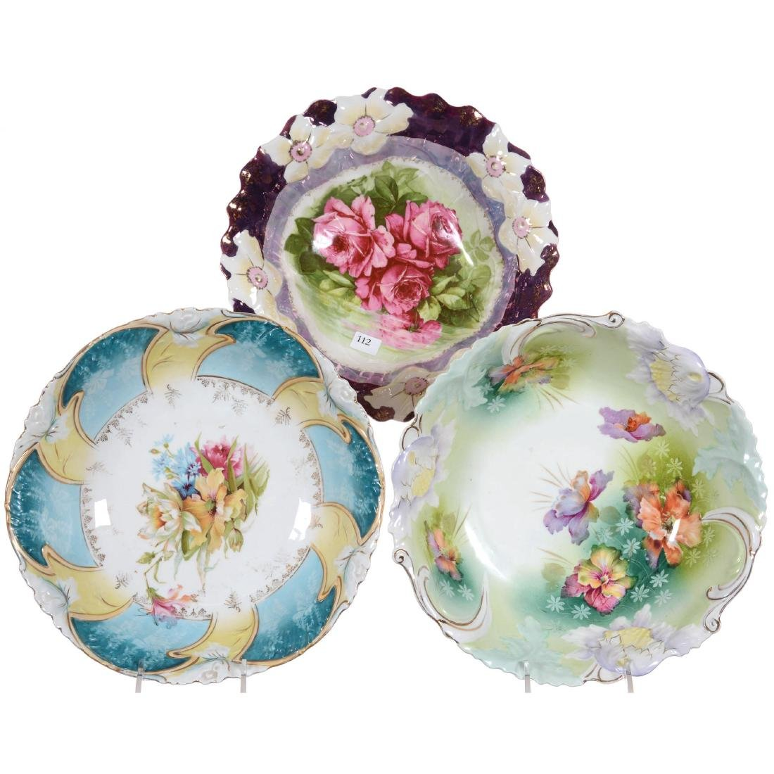 Three Prussia Style Floral Mold Bowls