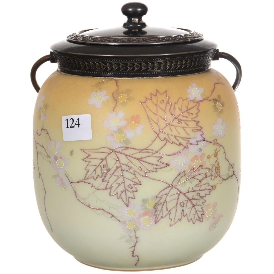Marked Crown Milano Art Glass Biscuit Jar