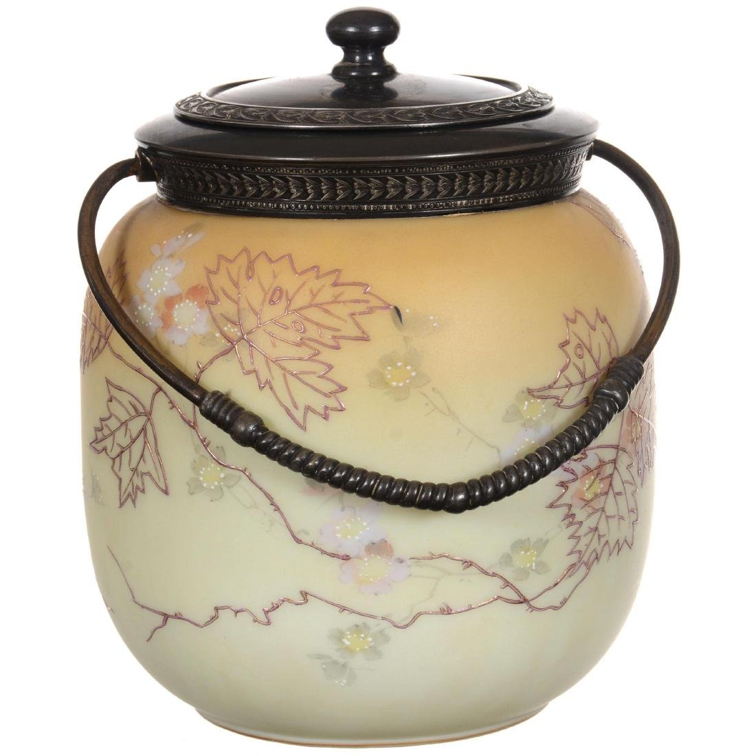 Marked Crown Milano Art Glass Biscuit Jar - 2