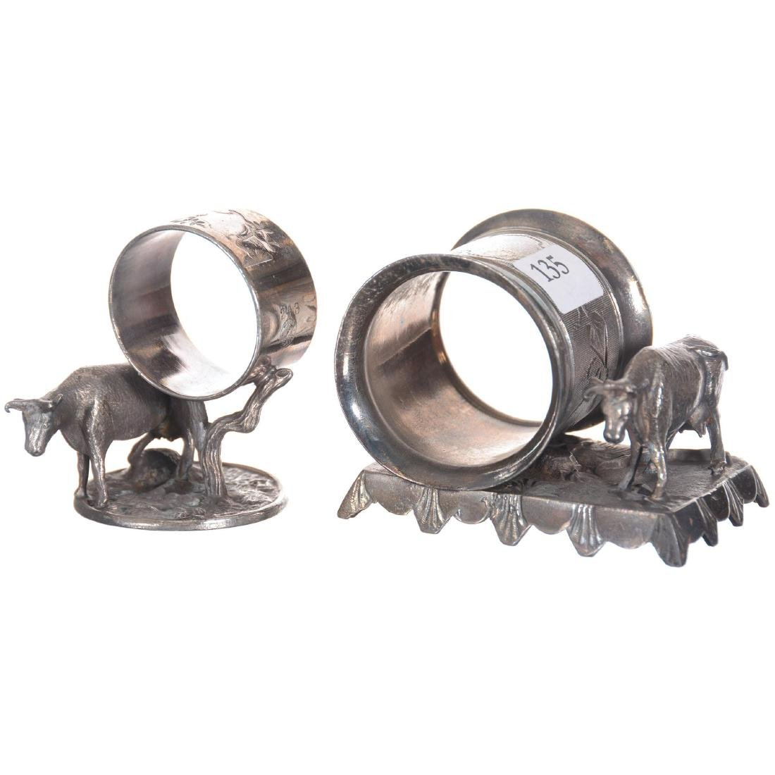 Two Figural Cow Silver-plate Napkin Rings