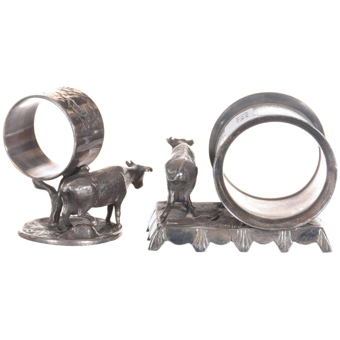 Two Figural Cow Silver-plate Napkin Rings - 2
