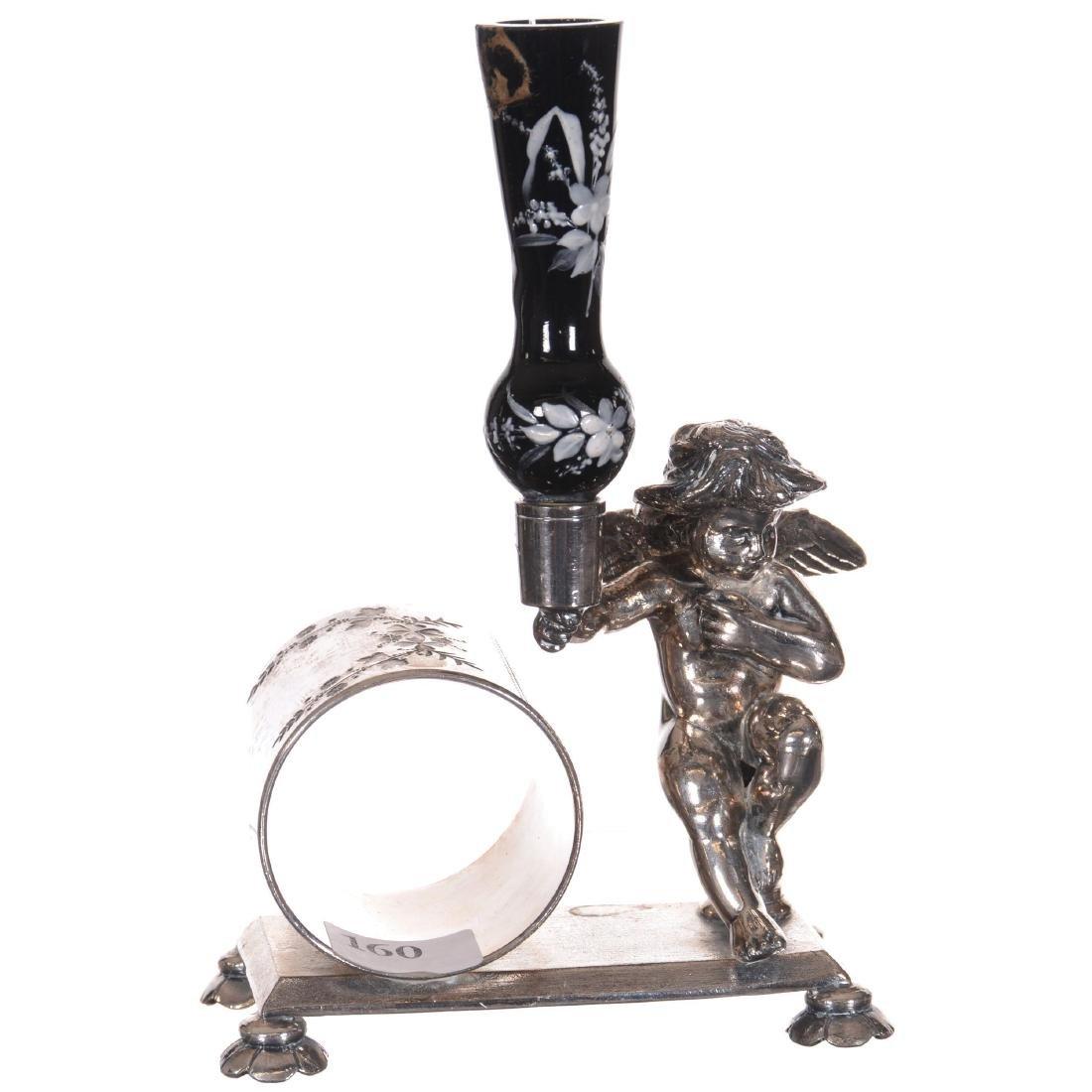 Figural Silver-plate Napkin Ring W/Bud Vase