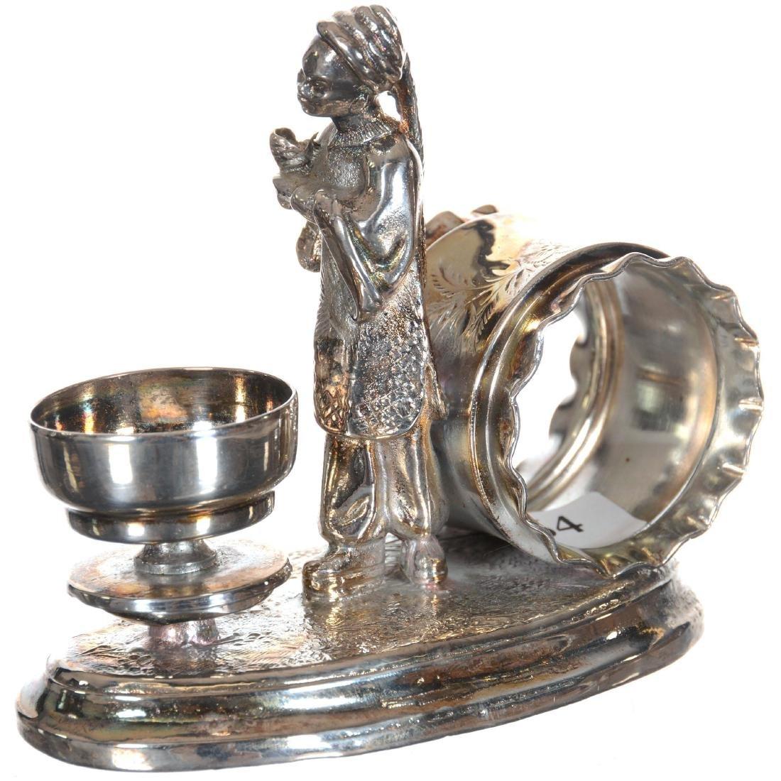 Figural Silver-plate Napkin Ring W/Open Salt