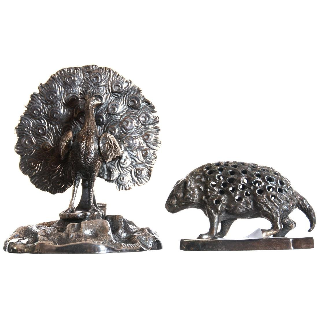 Two Figural Silver-plate Toothpick Holder