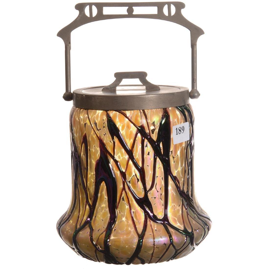 Unmarked Loetz Style Art Glass Biscuit Jar