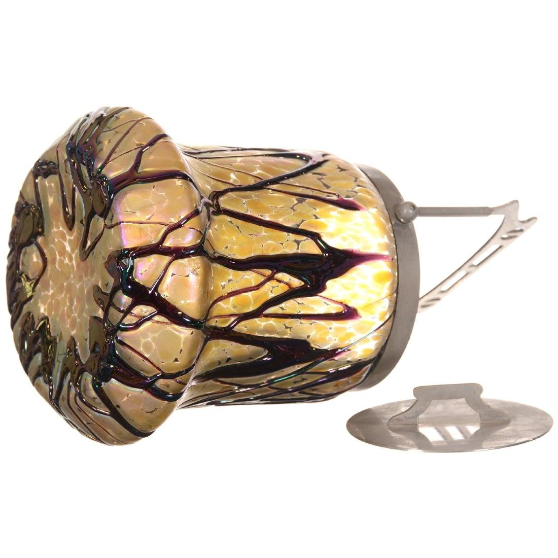 Unmarked Loetz Style Art Glass Biscuit Jar - 2