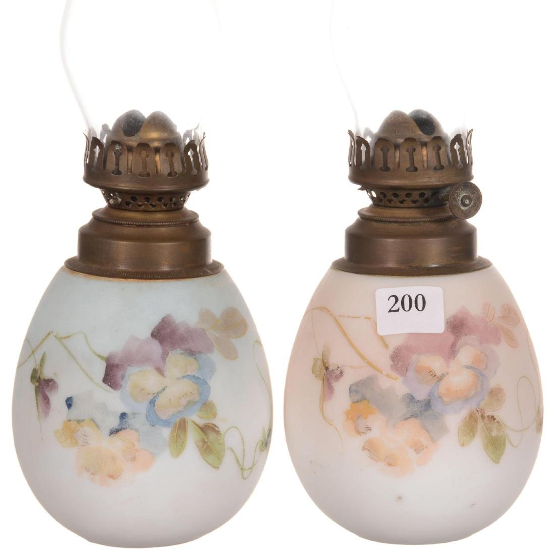 Two Unmarked Mt. Washington Kerosene Boudoir Lamps