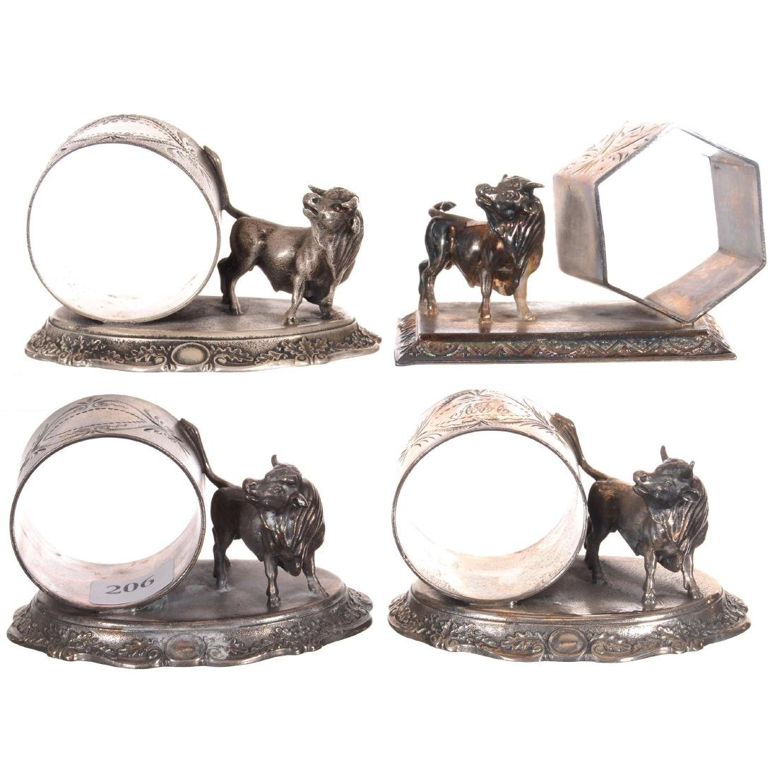 Four Figural Silver-plate Napkin Rings Featuring Bulls