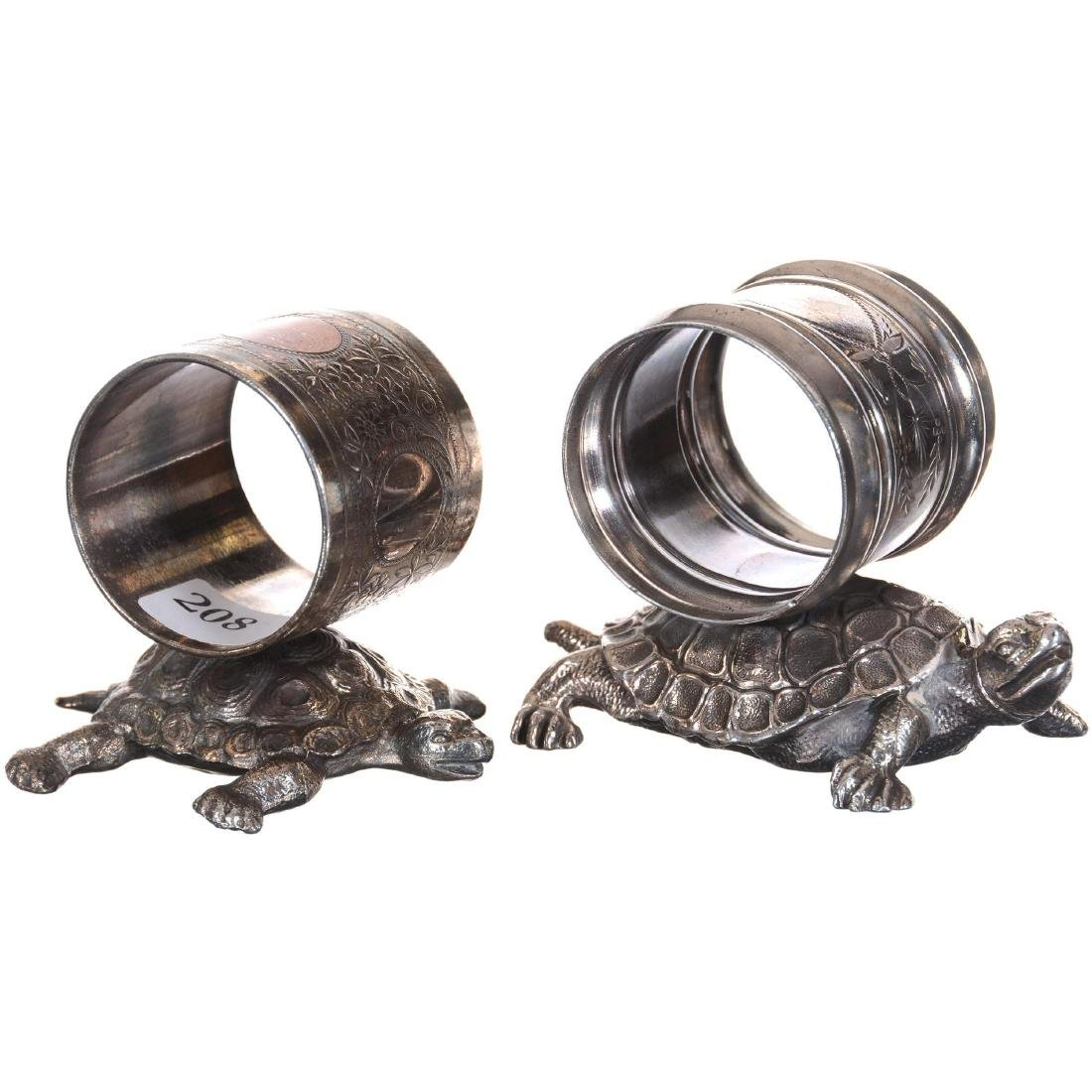 Two Figural Turtle Silver-plate Napkin Rings