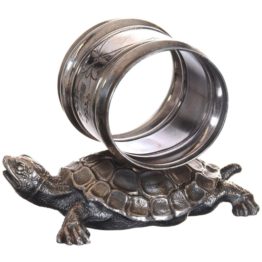 Two Figural Turtle Silver-plate Napkin Rings - 2