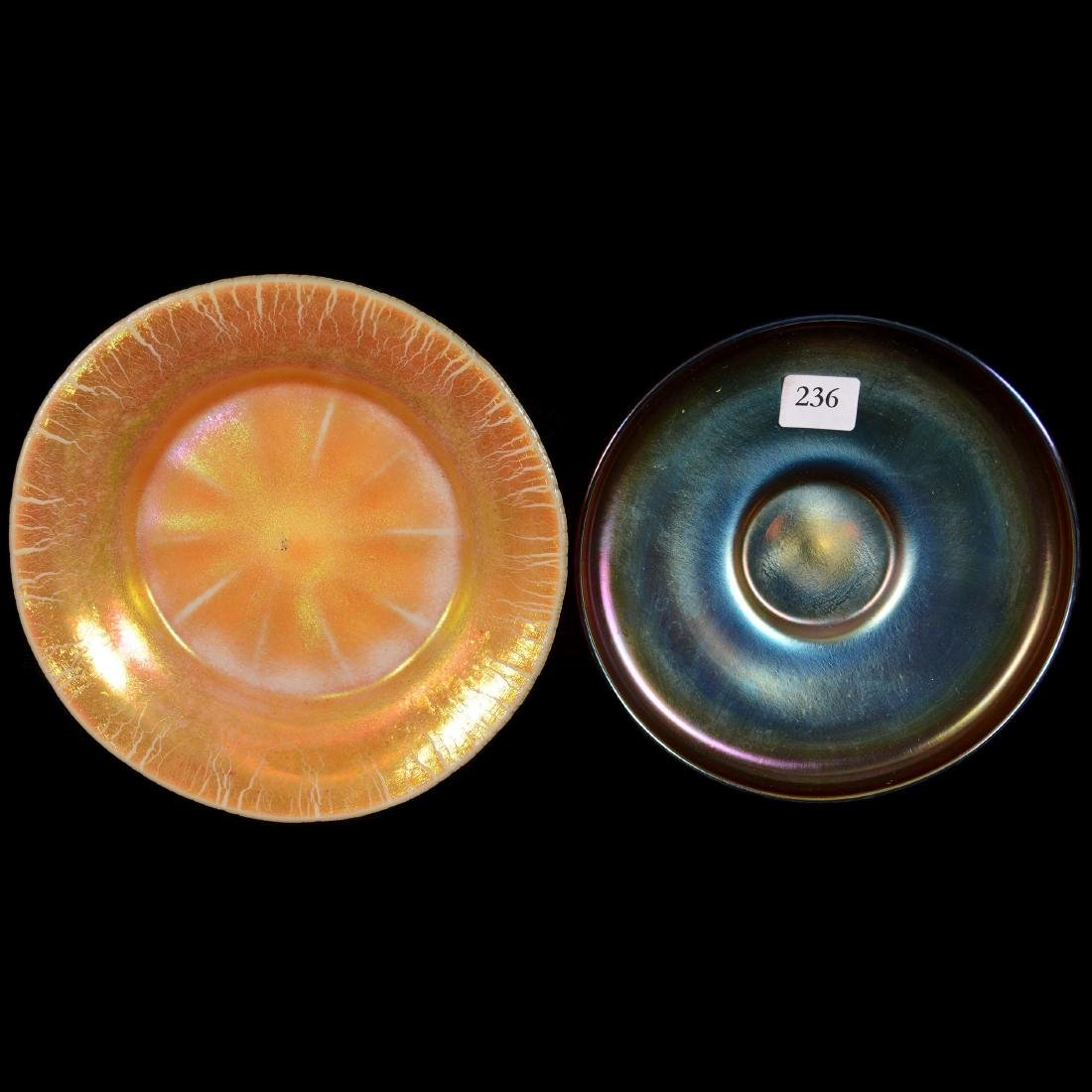 Two Gold Iridescent Art Glass Underplates