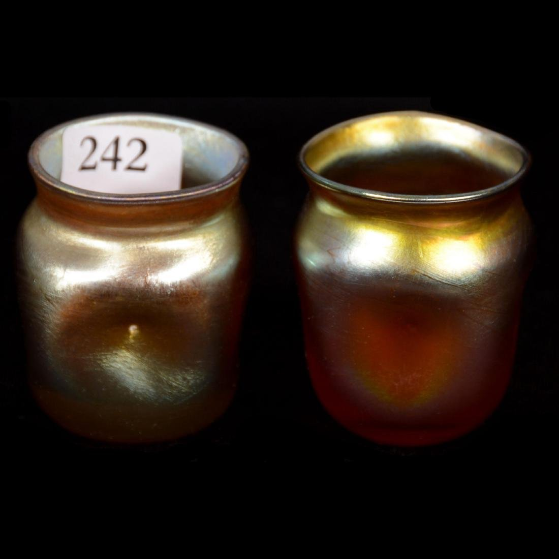 """Two Signed """"LCT"""" Gold Iridescent Toothpick Holders"""