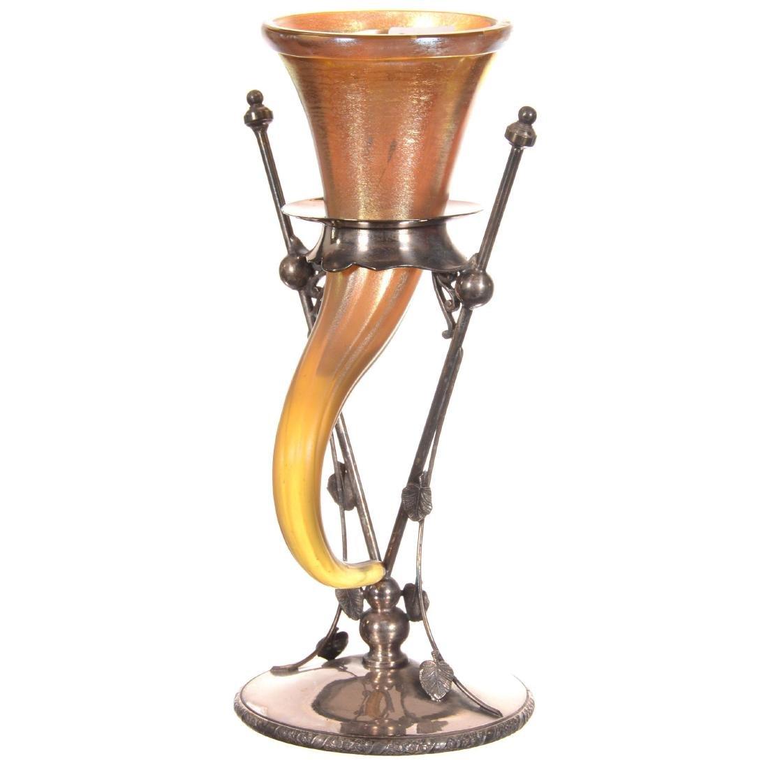 Gold Iridescent Cornucopia Art Glass Vase