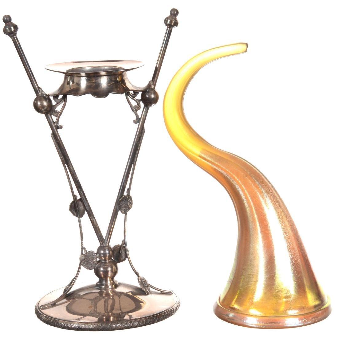 Gold Iridescent Cornucopia Art Glass Vase - 2