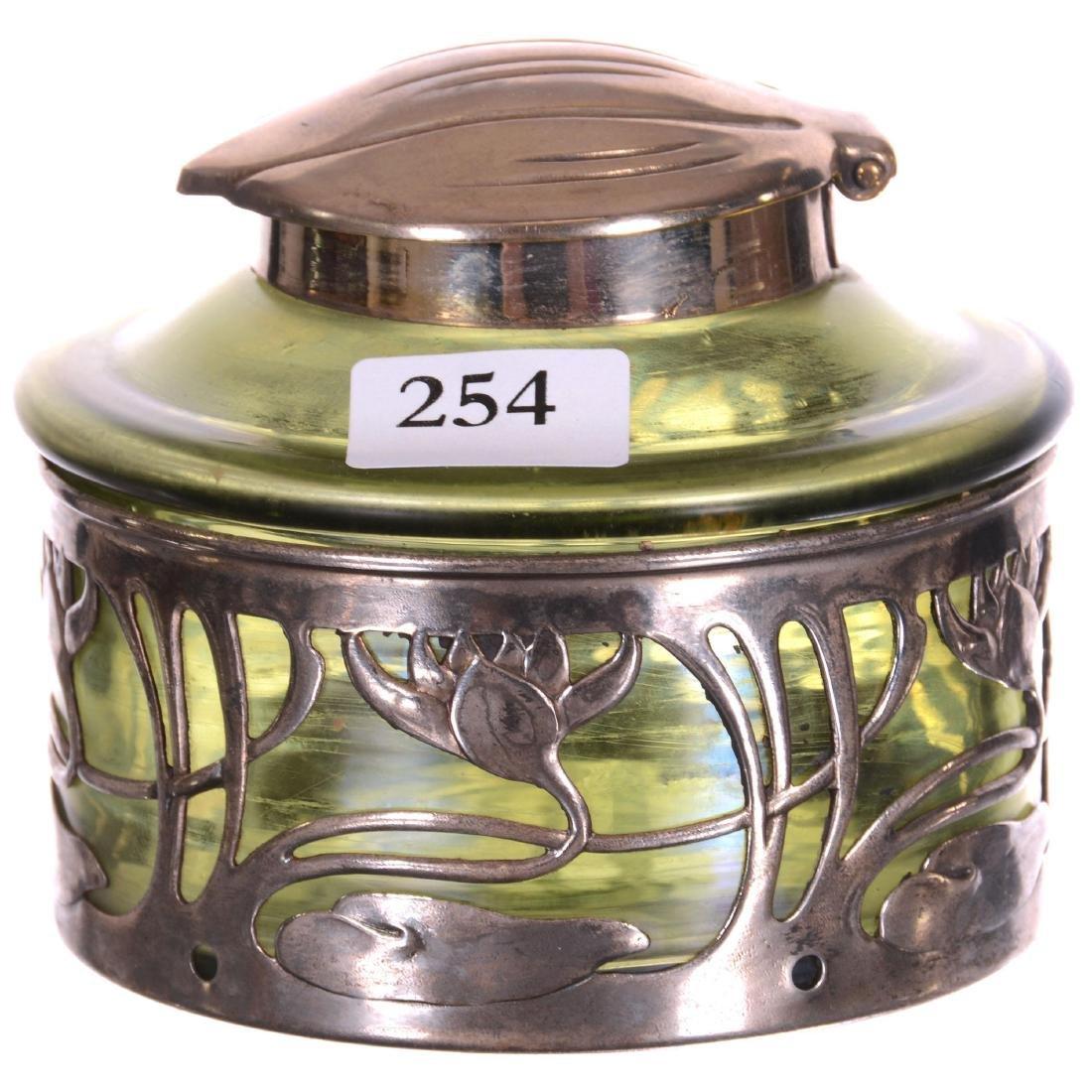 Green Iridescent Loetz Style Art Glass Inkwell