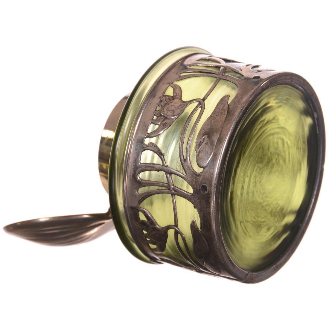 Green Iridescent Loetz Style Art Glass Inkwell - 2