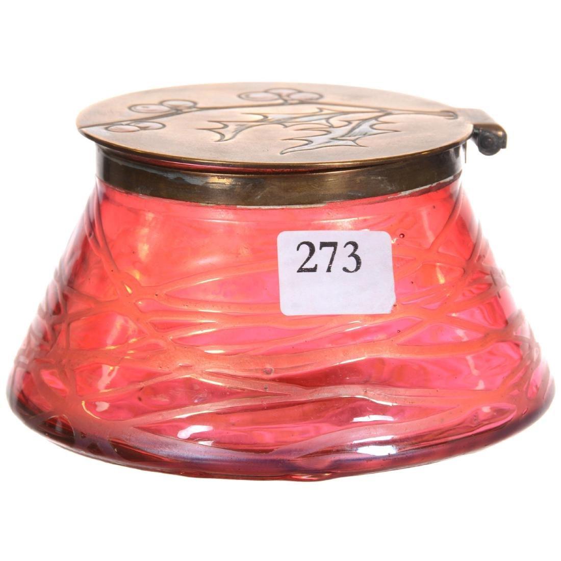 Unmarked Loetz Style Art Glass Hinged Box