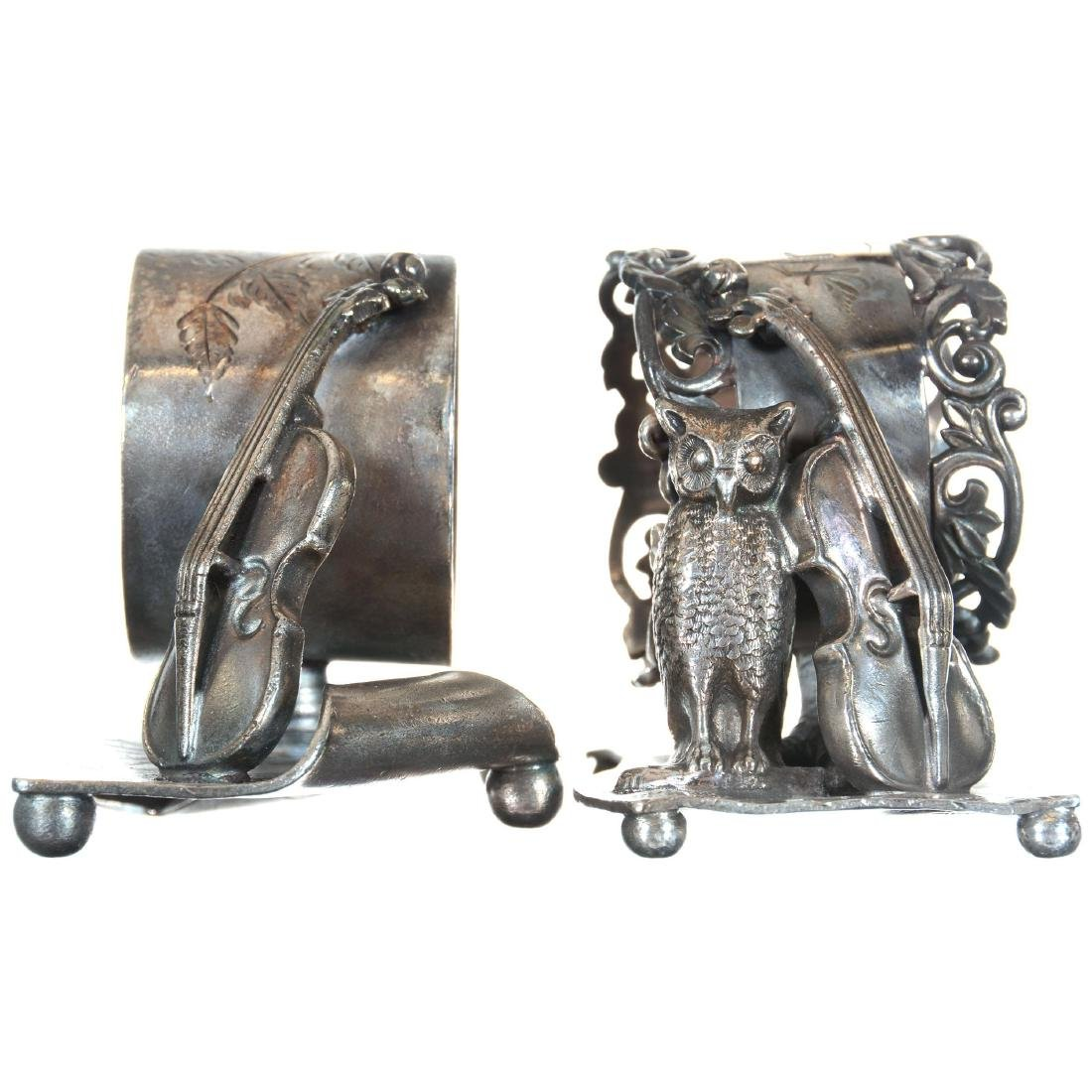 Two Figural Silver-plate Napkin Rings